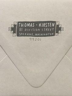 Keep a return address stamp with stamp pad at the ready on your desk... | Geometric Return Address Custom Stamp  | www.sycamorestreetpress.com
