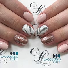 Gel polish and hand painted marble nails. Rose gold leafing by Hilary   See this Instagram photo by @lacqueredloft • 483 likes