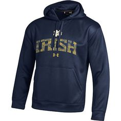 "New Under Armour University of Notre Dame Fighting Irish Hooded Sweatshirt with a cool camouflage print on ""Irish"""