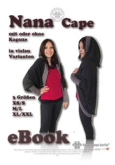 Günstiges Proioer E-Book Nähanleitung Bildernähanleitung  für Nana Cape, Poncho oder Jäckchen mit oder ohne Kapuze in 3 Größen.  Den Schnitt kannst Du bequem in schwarz/weiß am eigenen Drucker in...