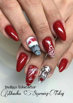 Christmas Red Stiletto Nail Art Ideas - Easy Designs for Holiday Nails Acrylic Nails Coffin Glitter, Red Stiletto Nails, Red Nails, Silk Nails, Christmas Gel Nails, Christmas Nail Art Designs, Holiday Nails, Nail Art Noel, Red Nail Art