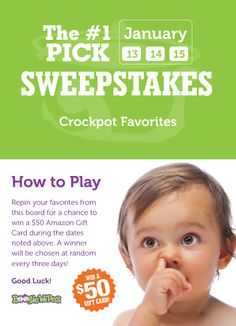 Our favorite Crockpot Recipes - that your family will love too! Repin your favorites from this board on January 13, 14 and 15 - or upload your own favorite pin and use #1PickCrockpot - and one person will be randomly chosen to win a $50 Amazon Gift Card. Good luck!