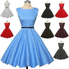 Vintage Style Swing 1950s 1960s Housewife Retro Pinup Rockabilly DANCE TEA Dress #GraceKarin #VintageDress #Casual