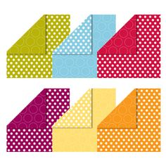 """Polka Dot Parade Designer Series Paper (126902) Daffodil Delight, Marina Mist, Old Olive, Pumpkin Pie, Real Red, Rich Razzleberry, Whisper White.  12 sheets: 2 ea. of 6 double-sided designs in 6 colors. 12"""" x 12""""."""