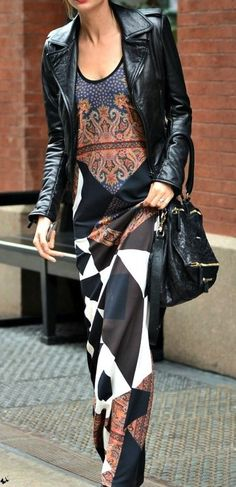 Moto jackets + printed maxi dress for fall.  Really a different look and I like it ! !  HotWomensClothes.com | Leather style