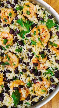 Cilantro Lime Black Bean Shrimp and Rice If you want to cook fresh fish in th. - Cilantro Lime Black Bean Shrimp and Rice If you want to cook fresh fish in the most delicious wa - Shrimp And Rice Recipes, Shrimp Recipes For Dinner, Shrimp Dishes, Fish Recipes, Seafood Recipes, Mexican Food Recipes, Cooking Recipes, Healthy Recipes, Seafood Dinner