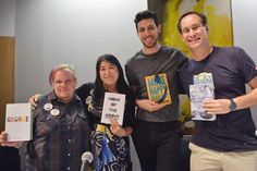 Authors (from l.) Alex Gino ('George,' Scholastic Press), I.W. Gregorio ('None of the Above,' HarperCollins/Balzer + Bray), Adam Silvera ('More Happy Than Not,' Soho Teen), and David Levithan ('Another Day,' Knopf).
