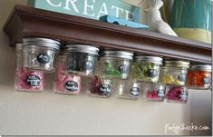Mason jars are super for home decorating and organizing in any season. Check out our list DIY mason jar craft projects to organize cluttered space. Mason Jar Shelf, Mason Jars, Mason Jar Storage, Mason Jar Crafts, Craft Room Storage, Craft Organization, Storage Ideas, Craft Rooms, Organizing Tips