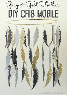 Gray & Gold Feather Crib Mobile {Tutorial}