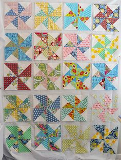 I have 3 blocks to sew together, than to rearrange the blocks to their permanent location and sew the sashing. Quilting Projects, Quilting Designs, Sewing Projects, Quilting 101, Patchwork Quilting, I Spy Quilt, Beach Quilt, Homemade Quilts, Pinwheel Quilt