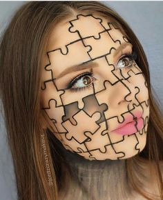Hallowen Makeup jigsaw puzzle piece creative easy halloween makeup inspo looks ideas inspiration. , jigsaw puzzle piece creative easy halloween makeup inspo looks ideas inspiration. jigsaw puzzle piece creative easy halloween makeup inspo looks ide. Fx Makeup, Makeup Inspo, Makeup Ideas, Face Makeup Art, Face Art, Makeup Box, Kids Makeup, Doll Makeup, Makeup Brush