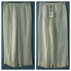 Jean Paul Gaultier Jacquard Cuffed Crop Dress Pant BNWT..MSRP $745 jean Paul Gaultier FEMME line JPG Elegant tonal Jacquard .on most these wo  QA 0302  Fabric 1235  Cut 0002 Tagged a SZ I 42 / D 38/ F 38 / GB 10 / USA 8 87 SILK/13 ACRYLIC  PROFESSIONAL clean only  AUTHENTIC  Made in Italy  Light weight, unlined, raised seam down middle of front and back of pants, TEXTURED material, jacquard imprints/impression, cuffed leg, side zipper,back tab, tiny little belt loops, ivory/eggshell /winter…