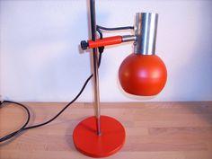 Orig. 70er Schreibtischlampe Kugellampe rot von susduett auf DaWanda.com