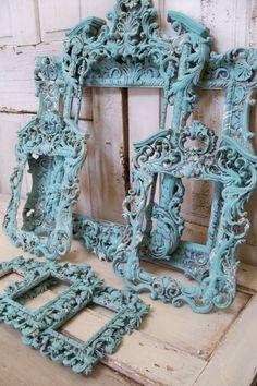 Large ornate frame grouping baroque style French chic blue aqua distressed shabby wall decor Anita Spero. $585.00, via Etsy.