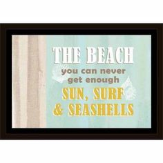 Never Enough Beach Shells & Burlap Coastal Typography Blue & Tan, Framed Canvas Art by Pied Piper Creative, Brown