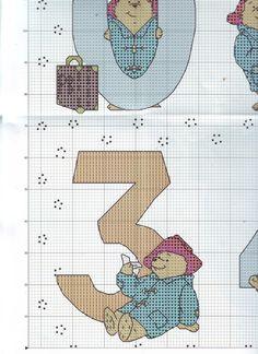 ru / Фото - The world of cross stitching 146 - tymannost Cross Stitch Numbers, Cross Stitch Alphabet, Cross Stitch Charts, Cross Stitch Designs, Cross Stitch Patterns, Ours Paddington, Teddy Bear Puppies, Animal Crackers, Tatty Teddy