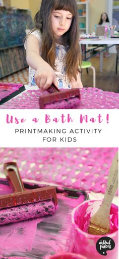 Try this fun bath mat printmaking activity and create beautiful art prints for kids. Printmaking project and post by Benares Angeley of Children's Art Lab. #artsandcrafts #preschoolers #sensory #sensoryactivity #sensoryactivities #printmakingforkids #printingforkids