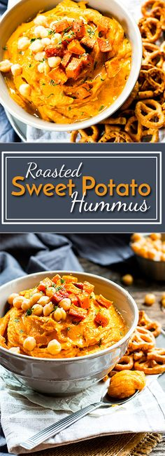 Roasted Sweet Potato Hummus Without Tahini | A hummus recipe without tahini!! It…