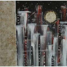 """Quadri Astratti Città Di Notte. """"Città 2 moderna"""" Tecnica mista su tela. Pennellate veloci e colori di contrasto costruiscono una città astratta illuminata da una luna con effetto crepe. Al lato una decorazione graffiata con malte è decorata con foglia oro antichizzata."""