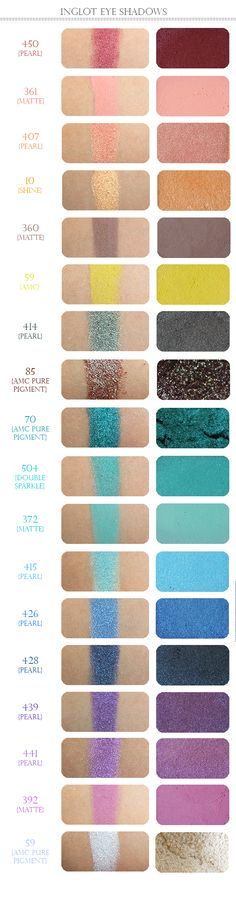 Just Swatches : Inglot Eyeshadows