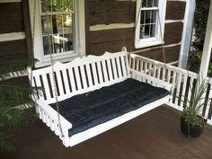 6' Painted white porch / patio swing bed - royal English style.  Made of locally sourced pine, designed  and built by the Pennsylvania Amish.