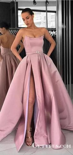 Ball Gown Strapless Split Pink Satin Long Prom Dresses with Pockets 9a6e9ddf8