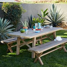$1000 west elm table w benches Patio Dining Set and Outdoor Furniture | west elm