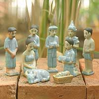 Celadon ceramic nativity scene, 'Thai Christmas'. Novica from National Geographic is like Etsy for talented artisans in developing nations.