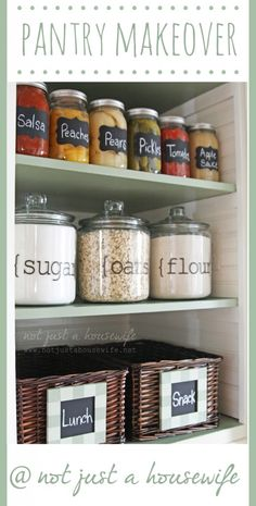 Organized Pantry - love the chalkboard labels on the baskets made with chalkboard paint