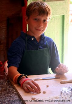 "a young student from Colorado, learning how to make ""orecchiette"" at the school!"