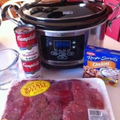 Crockpot Cube Steak and Gravy  Cube steak (family size pack) 2 cans (10.75 ounce size) cream of mushroom soup 1 envelope onion soup mix ¾ cup water Salt and Pepper to taste