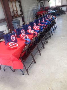 captain america party favor set up