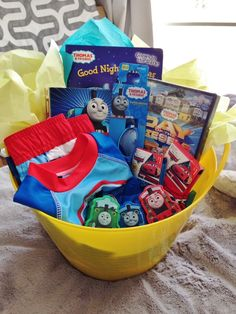 My 3 year old boys easter basket with no candy easter candy free easter basket thomas the train negle Choice Image