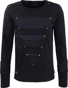 A black gothic long-sleeve shirt with net applications, from the men's clothing collection by Queen of Darkness. Modern, timeless and stylish.