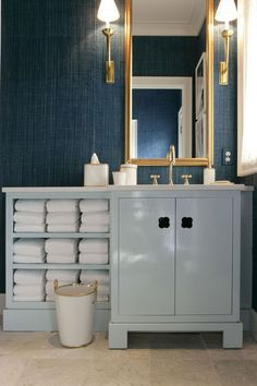 """Guest Bath: just the 36"""" Vanity - mirror & sconces in chrome - love the idea of painted - coral?"""