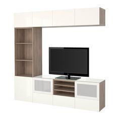 """BESTÅ TV storage combination/glass doors - walnut effect light gray/Selsviken high-gloss/white frosted glass, 94 1/2x15 3/4x90 1/2 """", drawer runner, soft-closing - IKEA"""
