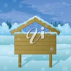 Wood sign for text on background of winter Christmas landscape. Vector
