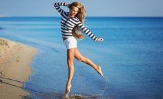 Vrouw strand strepen