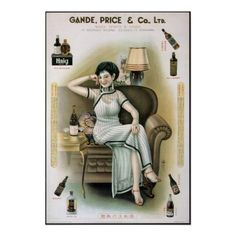 Old Chinese Shanghai Women Pin up Advert Poster