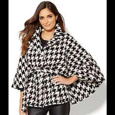 Epic houndstooth coat! Never worn! Brand new beautiful woven houndstooth coat! Cape style with front waste tie. New York & Company Jackets & Coats