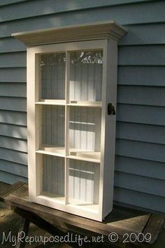 wall cabinet made from an old window Repurposed Furniture MyRepurposedLife.com by stella
