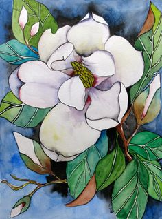 Original Magnolia Watercolor Painting White Flower Artwork on Canvas 9x12, Ready to Hang. $75.00, via Etsy.
