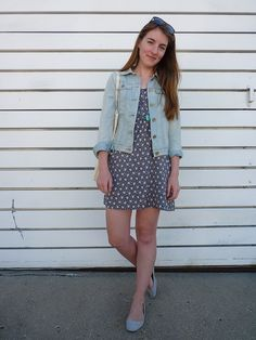 works cited: ruche dress; gap jacket; UO flats; linleyshea necklace; bag from etsy