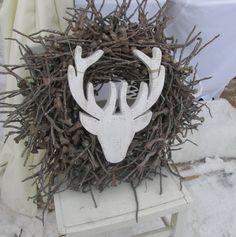 Deko-Objekte - Shabby Chic Hirschkopf Hirschgeweih aus Holz - ein Designerstück von raumtraum-1 bei DaWanda