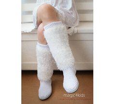 Crochet fuzzy boots for women  PDF crochet pattern by magic4kids