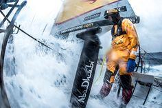March 28, 2015. Leg 5 to Itajai onboard Abu Dhabi Ocean Racing. Day 11. Roberto Bermudez, aka Chuny, stops bracing, letting the 3 degree wave simply rush by in the Southern Ocean at sunset - Matt Knighton / Abu Dhabi Ocean Racing / Volvo Ocean Race