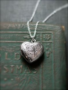 Vintage Sterling Silver Heart Locket Necklace Small by TforEdgar