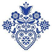 Scandinavian retro folk art floral, vector design in navy blue, Nordic pattern w. Scandinavian retro folk art floral, vector design in navy blue, Nordic pattern with birds and flowers. Traditional c Folk Embroidery, Vintage Embroidery, Embroidery Patterns, Hungarian Embroidery, Folk Art Flowers, Flower Art, Art Floral, Floral Design, Design Art
