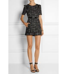 Loulou leather-trimmed tweed playsuit