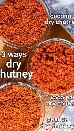 vada pav chutney recipe | dry coconut chutney | dry chutney recipe 3 ways with detailed photo and video recipe. an easy and simple flavoured dry condiment recipe made with a combination of spices and herbs. it is mainly served as a taste enhancer with a choice of snacks like vada pav, samosa and pakoda's but can also be served sides for lunch and dinner. there are myriad ways to prepare a dry chatni, but this post dedicated to 3 main ways, including a garlic chutney, coconut chatni Podi Recipe, Masala Recipe, Spicy Recipes, Curry Recipes, Snacks Recipes, Veggie Recipes, Cooking Recipes, Vegetarian Snacks